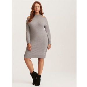 Torrid Cold Shoulder Gray Sweater Dress